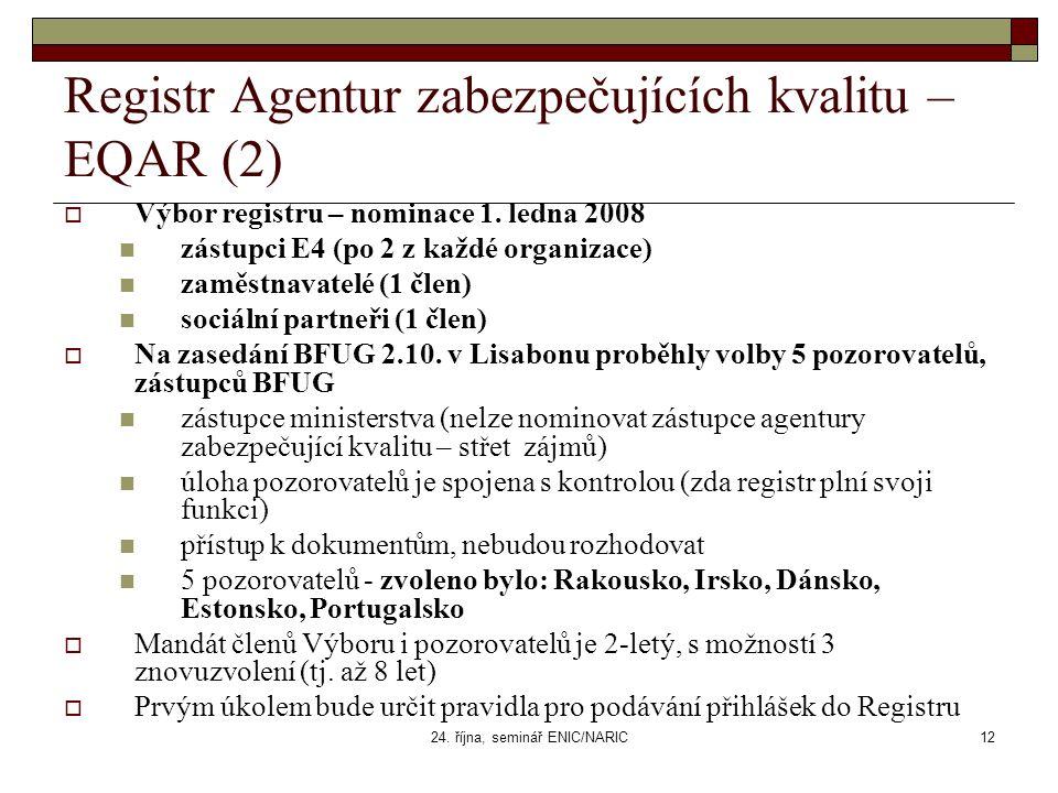 24. října, seminář ENIC/NARIC12 Registr Agentur zabezpečujících kvalitu – EQAR (2)  Výbor registru – nominace 1. ledna 2008 zástupci E4 (po 2 z každé