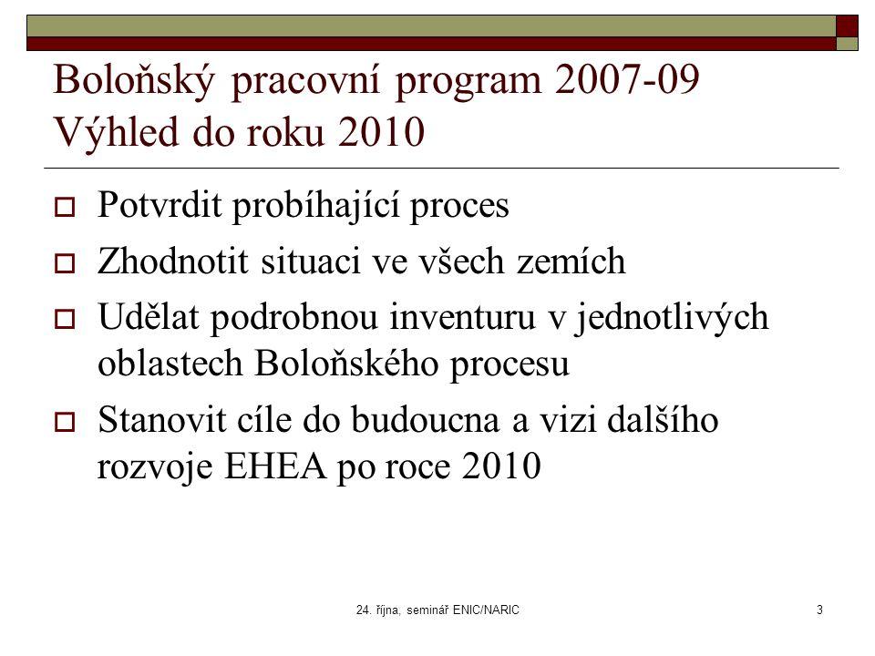 24. října, seminář ENIC/NARIC3 Boloňský pracovní program 2007-09 Výhled do roku 2010  Potvrdit probíhající proces  Zhodnotit situaci ve všech zemích