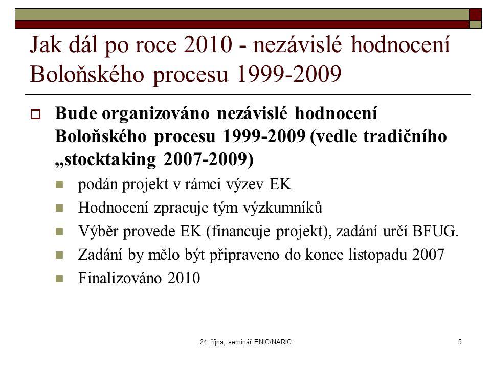 24. října, seminář ENIC/NARIC5 Jak dál po roce 2010 - nezávislé hodnocení Boloňského procesu 1999-2009  Bude organizováno nezávislé hodnocení Boloňsk