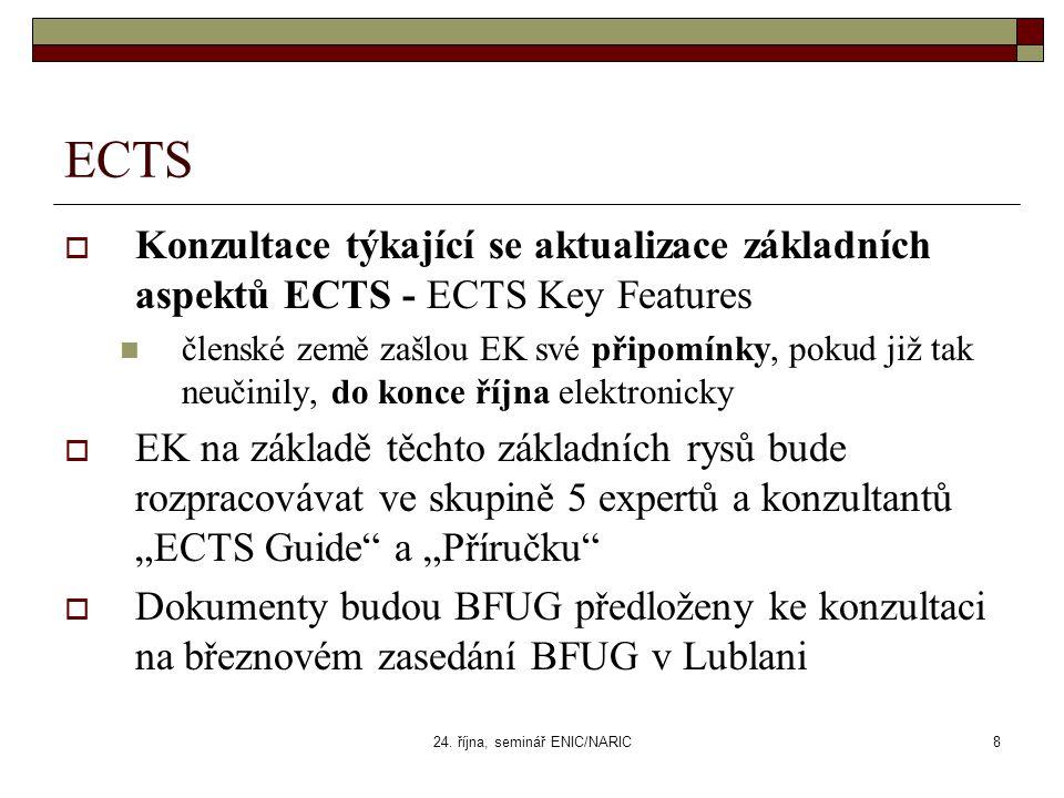 24. října, seminář ENIC/NARIC8 ECTS  Konzultace týkající se aktualizace základních aspektů ECTS - ECTS Key Features členské země zašlou EK své připom