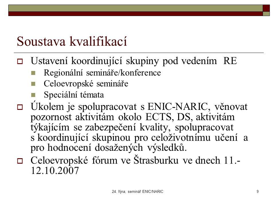 24. října, seminář ENIC/NARIC9 Soustava kvalifikací  Ustavení koordinující skupiny pod vedením RE Regionální semináře/konference Celoevropské seminář