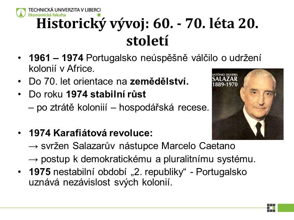 Historický vývoj: 60. - 70. léta 20. století 1961 – 1974 Portugalsko neúspěšně válčilo o udržení kolonií v Africe. Do 70. let orientace na zemědělství