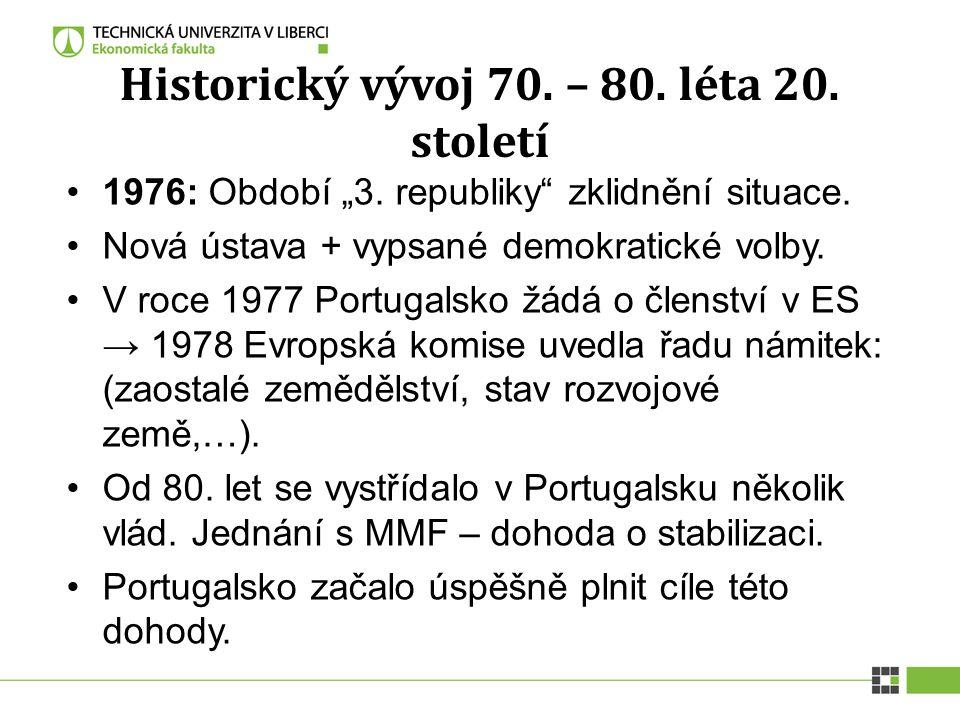 """Historický vývoj 70. – 80. léta 20. století 1976: Období """"3. republiky"""" zklidnění situace. Nová ústava + vypsané demokratické volby. V roce 1977 Portu"""