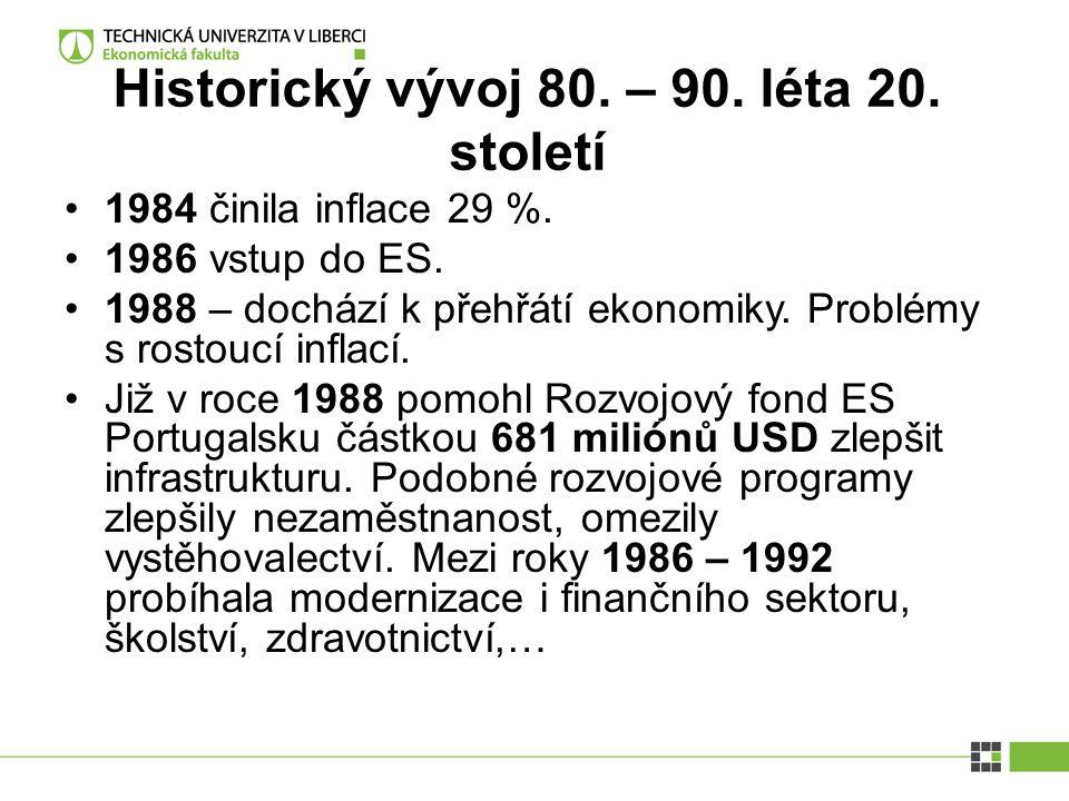 Historický vývoj 80. – 90. léta 20. století 1984 činila inflace 29 %. 1986 vstup do ES. 1988 – dochází k přehřátí ekonomiky. Problémy s rostoucí infla
