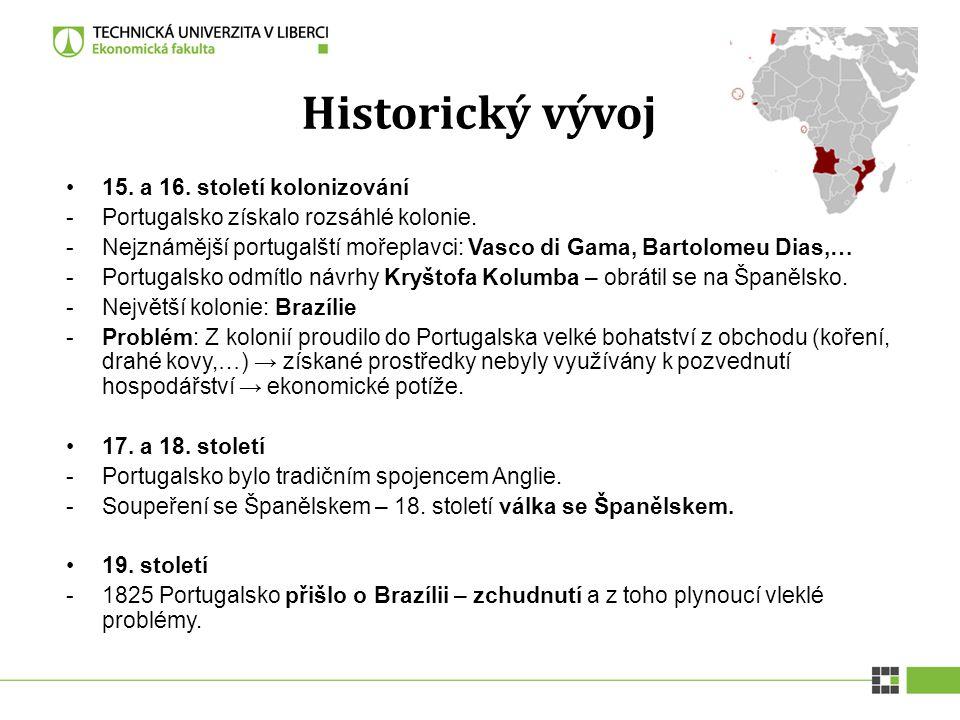 Historický vývoj 15. a 16. století kolonizování -Portugalsko získalo rozsáhlé kolonie. -Nejznámější portugalští mořeplavci: Vasco di Gama, Bartolomeu