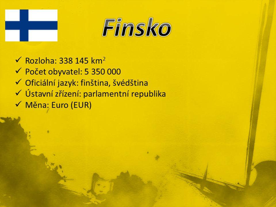 Rozloha: 338 145 km 2 Počet obyvatel: 5 350 000 Oficiální jazyk: finština, švédština Ústavní zřízení: parlamentní republika Měna: Euro (EUR)