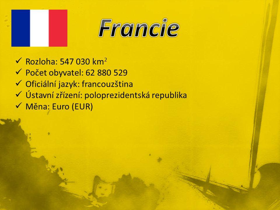 Rozloha: 547 030 km 2 Počet obyvatel: 62 880 529 Oficiální jazyk: francouzština Ústavní zřízení: poloprezidentská republika Měna: Euro (EUR)