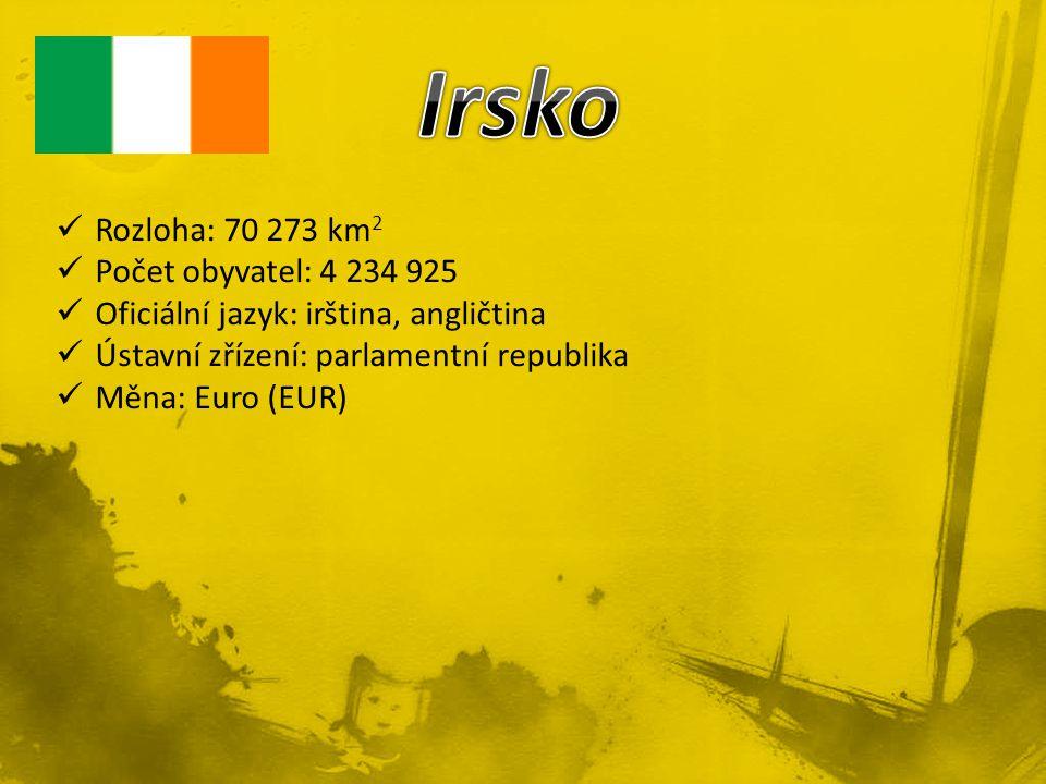 Rozloha: 70 273 km 2 Počet obyvatel: 4 234 925 Oficiální jazyk: irština, angličtina Ústavní zřízení: parlamentní republika Měna: Euro (EUR)