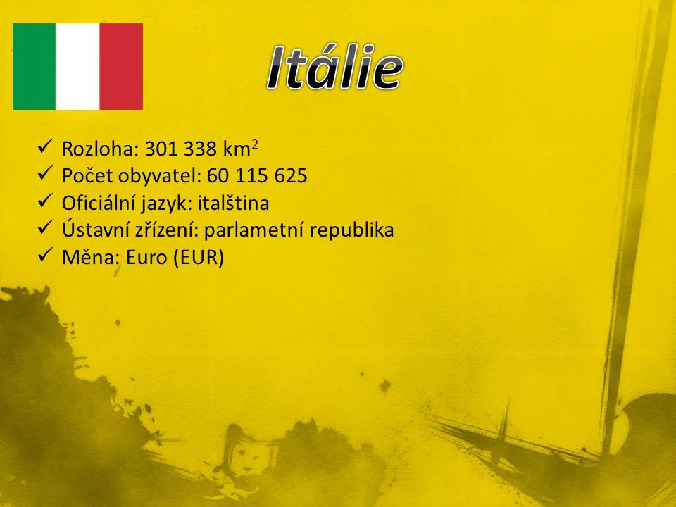Rozloha: 301 338 km 2 Počet obyvatel: 60 115 625 Oficiální jazyk: italština Ústavní zřízení: parlametní republika Měna: Euro (EUR)
