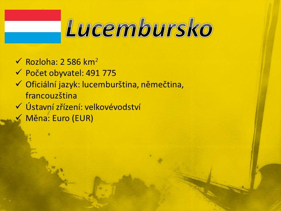 Rozloha: 2 586 km 2 Počet obyvatel: 491 775 Oficiální jazyk: lucemburština, němečtina, francouzština Ústavní zřízení: velkovévodství Měna: Euro (EUR)
