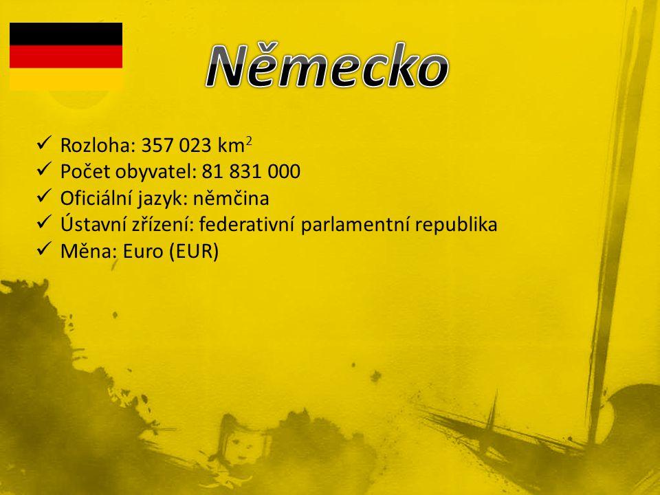 Rozloha: 357 023 km 2 Počet obyvatel: 81 831 000 Oficiální jazyk: němčina Ústavní zřízení: federativní parlamentní republika Měna: Euro (EUR)