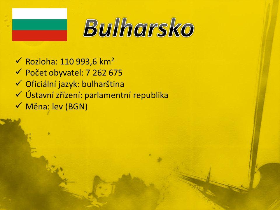 Rozloha: 110 993,6 km² Počet obyvatel: 7 262 675 Oficiální jazyk: bulharština Ústavní zřízení: parlamentní republika Měna: lev (BGN)
