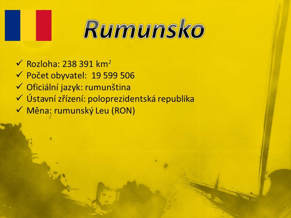 Rozloha: 238 391 km 2 Počet obyvatel: 19 599 506 Oficiální jazyk: rumunština Ústavní zřízení: poloprezidentská republika Měna: rumunský Leu (RON)