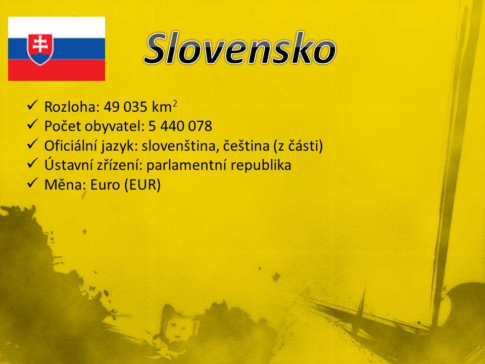 Rozloha: 49 035 km 2 Počet obyvatel: 5 440 078 Oficiální jazyk: slovenština, čeština (z části) Ústavní zřízení: parlamentní republika Měna: Euro (EUR)