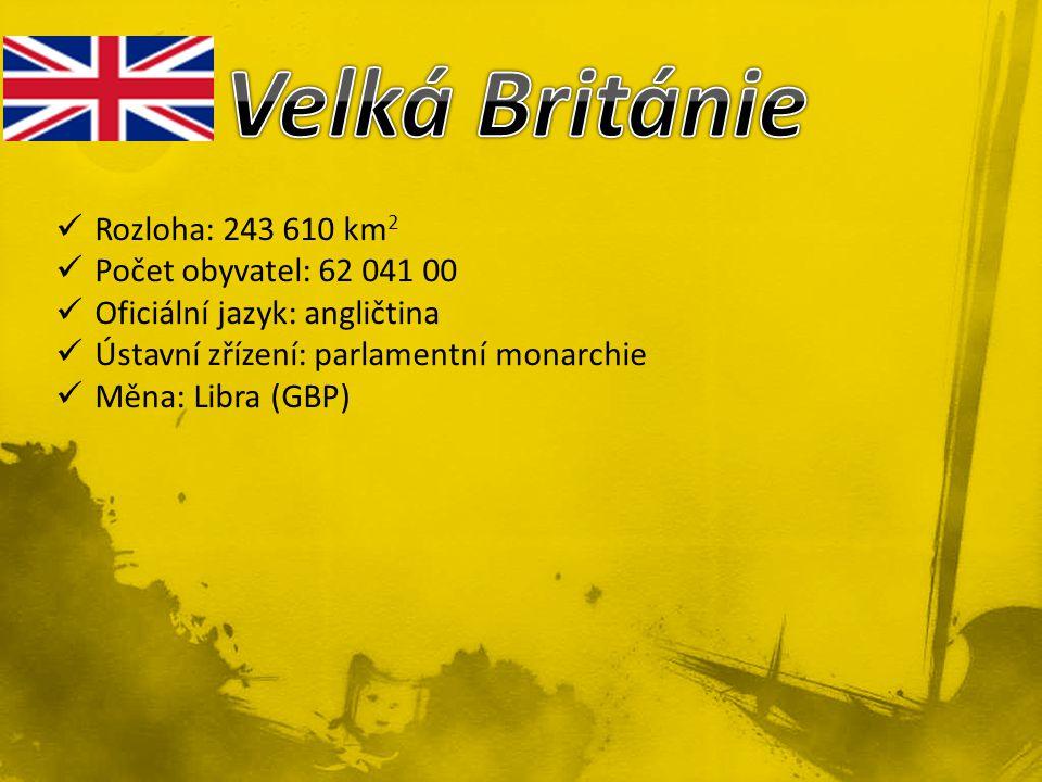 Rozloha: 243 610 km 2 Počet obyvatel: 62 041 00 Oficiální jazyk: angličtina Ústavní zřízení: parlamentní monarchie Měna: Libra (GBP)
