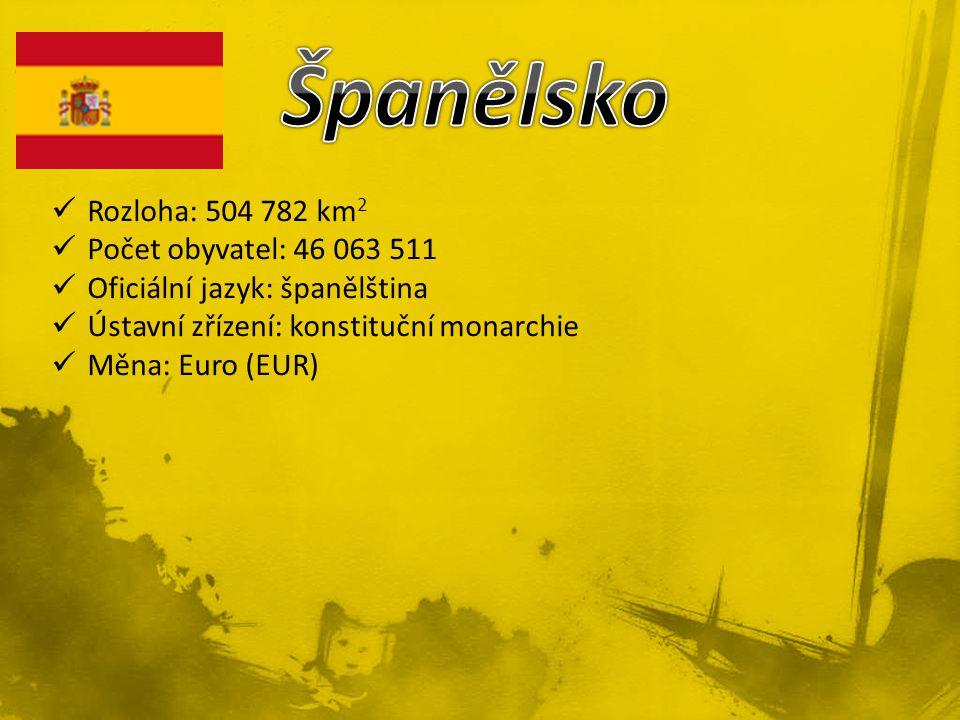 Rozloha: 504 782 km 2 Počet obyvatel: 46 063 511 Oficiální jazyk: španělština Ústavní zřízení: konstituční monarchie Měna: Euro (EUR)