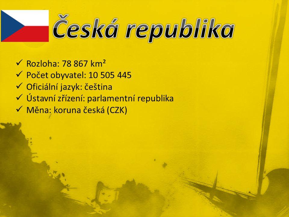 Rozloha: 78 867 km² Počet obyvatel: 10 505 445 Oficiální jazyk: čeština Ústavní zřízení: parlamentní republika Měna: koruna česká (CZK)