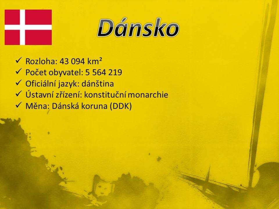 Rozloha: 43 094 km² Počet obyvatel: 5 564 219 Oficiální jazyk: dánština Ústavní zřízení: konstituční monarchie Měna: Dánská koruna (DDK)