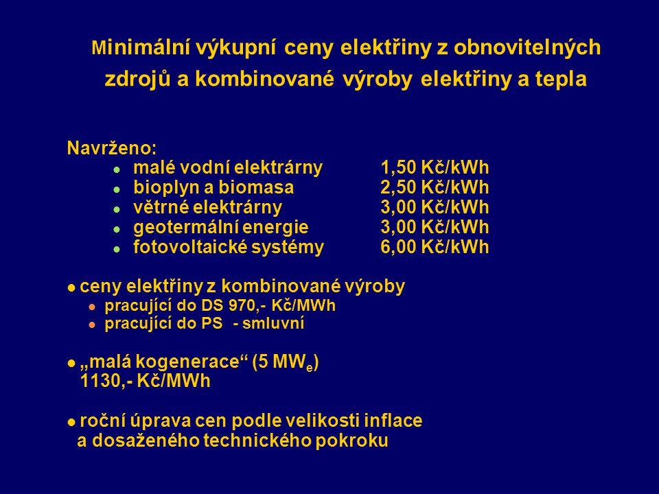 """M inimální výkupní ceny elektřiny z obnovitelných zdrojů a kombinované výroby elektřiny a tepla Navrženo: malé vodní elektrárny 1,50 Kč/kWh bioplyn a biomasa 2,50 Kč/kWh větrné elektrárny 3,00 Kč/kWh geotermální energie3,00 Kč/kWh fotovoltaické systémy6,00 Kč/kWh ceny elektřiny z kombinované výroby pracující do DS 970,- Kč/MWh pracující do PS - smluvní """"malá kogenerace (5 MW e ) 1130,- Kč/MWh roční úprava cen podle velikosti inflace a dosaženého technického pokroku"""