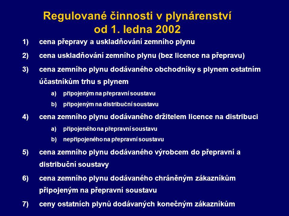 Regulované činnosti v plynárenství od 1.