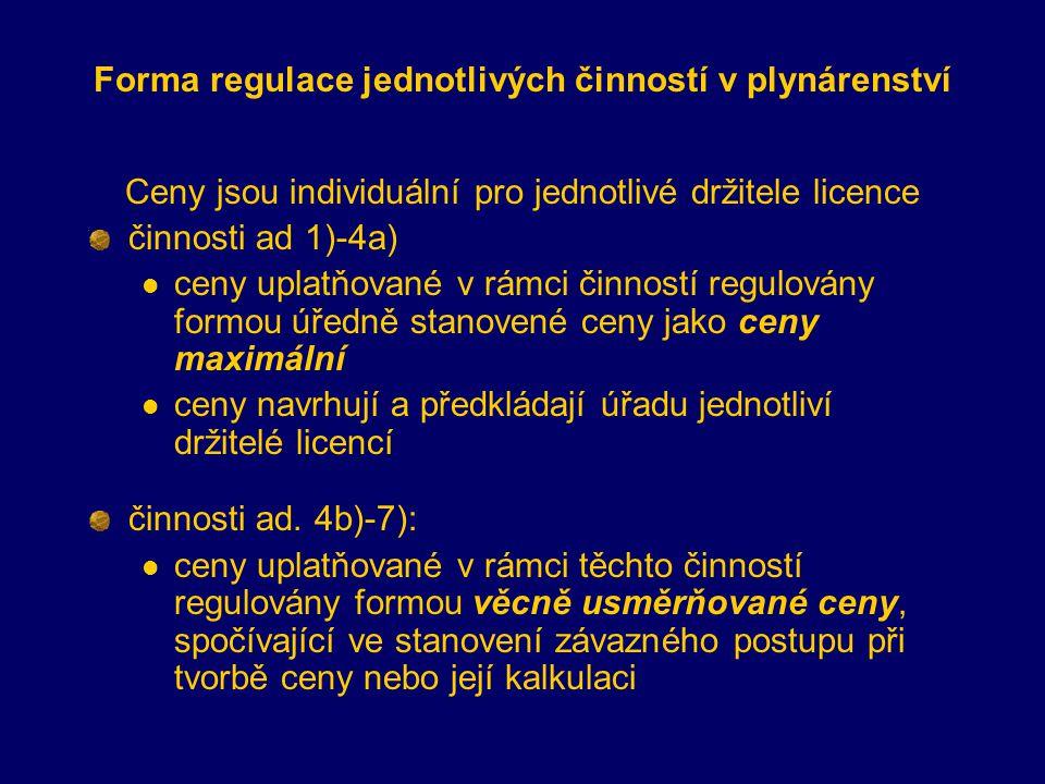Forma regulace jednotlivých činností v plynárenství Ceny jsou individuální pro jednotlivé držitele licence činnosti ad 1)-4a) ceny uplatňované v rámci