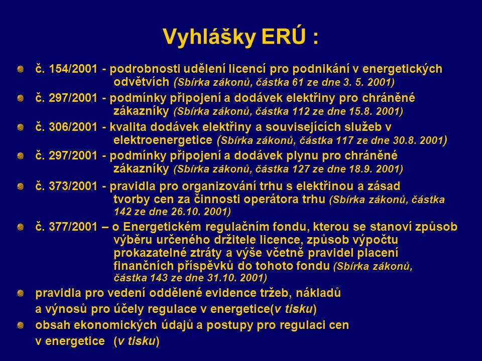 Vyhlášky ERÚ : č. 154/2001 - podrobnosti udělení licencí pro podnikání v energetických odvětvích ( Sbírka zákonů, částka 61 ze dne 3. 5. 2001) č. 297/