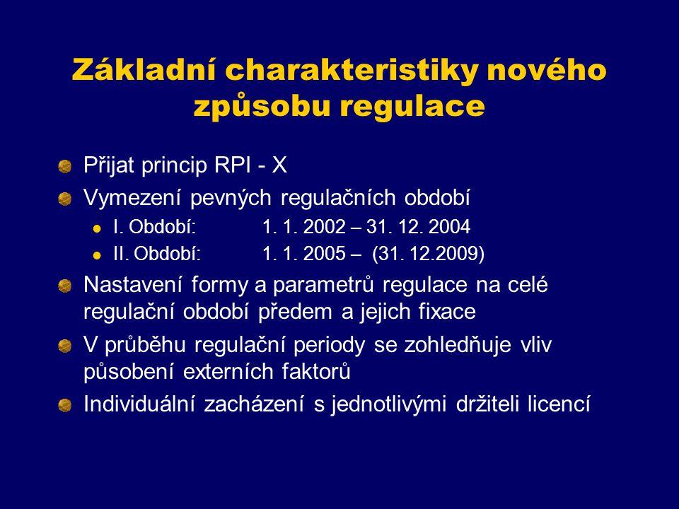 Základní charakteristiky nového způsobu regulace Přijat princip RPI - X Vymezení pevných regulačních období I. Období:1. 1. 2002 – 31. 12. 2004 II. Ob