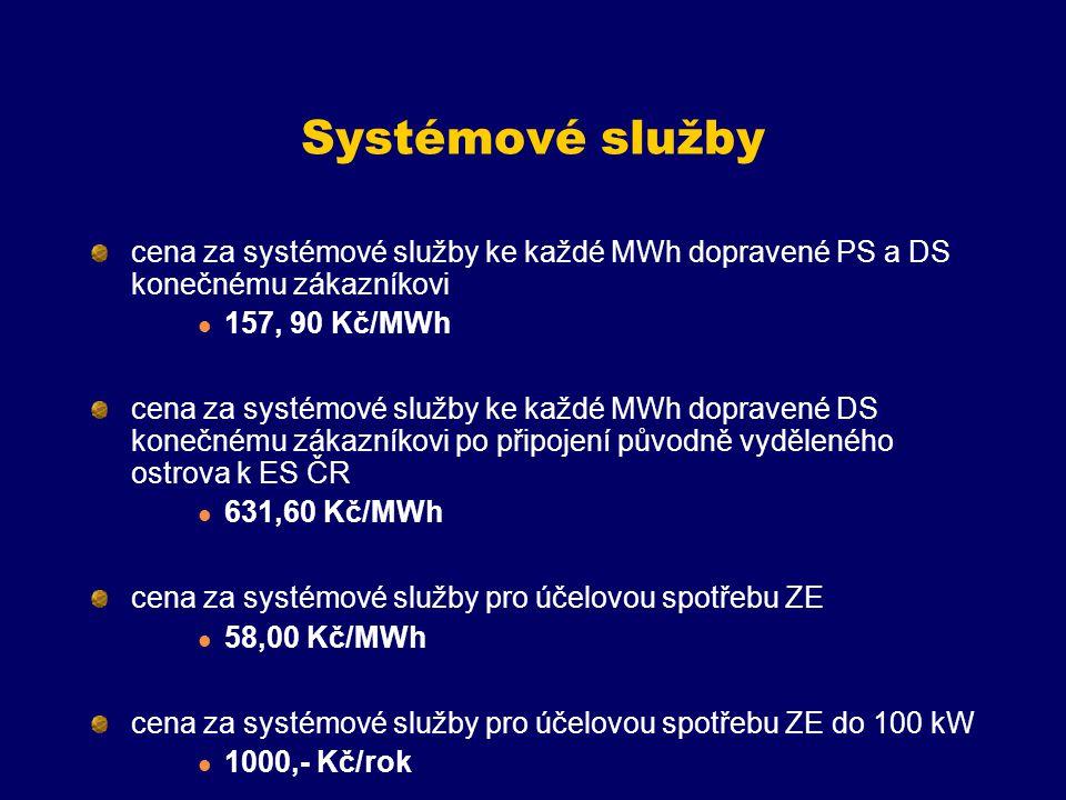 Systémové služby cena za systémové služby ke každé MWh dopravené PS a DS konečnému zákazníkovi 157, 90 Kč/MWh cena za systémové služby ke každé MWh dopravené DS konečnému zákazníkovi po připojení původně vyděleného ostrova k ES ČR 631,60 Kč/MWh cena za systémové služby pro účelovou spotřebu ZE 58,00 Kč/MWh cena za systémové služby pro účelovou spotřebu ZE do 100 kW 1000,- Kč/rok