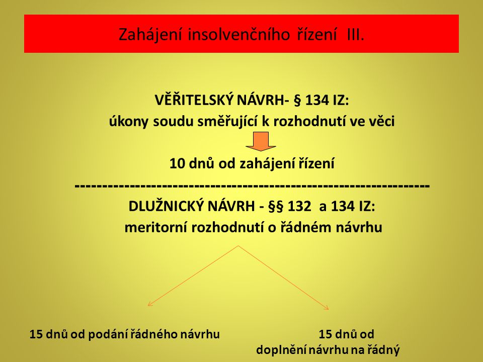 Zahájení insolvenčního řízení III. VĚŘITELSKÝ NÁVRH- § 134 IZ: úkony soudu směřující k rozhodnutí ve věci 10 dnů od zahájení řízení ------------------