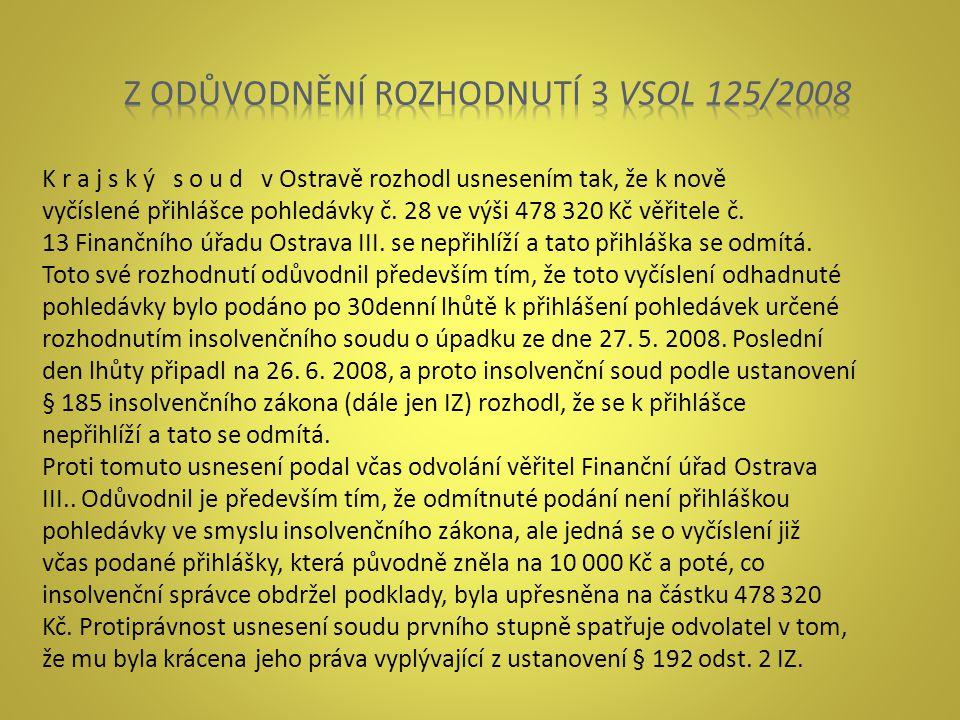 K r a j s k ý s o u d v Ostravě rozhodl usnesením tak, že k nově vyčíslené přihlášce pohledávky č. 28 ve výši 478 320 Kč věřitele č. 13 Finančního úřa