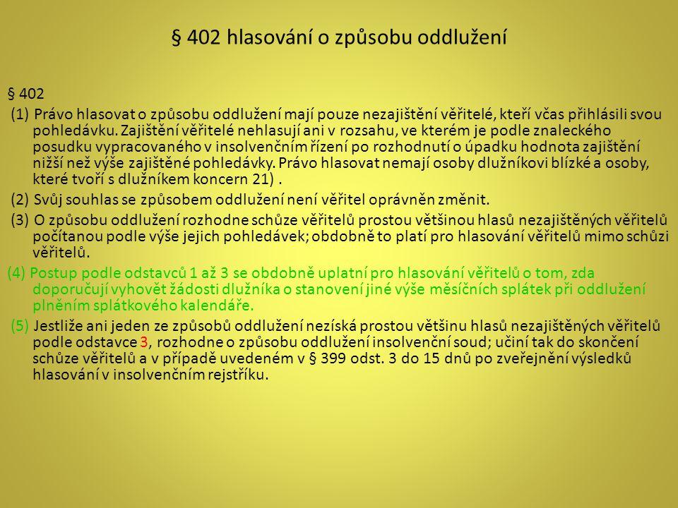 § 402 hlasování o způsobu oddlužení § 402 (1) Právo hlasovat o způsobu oddlužení mají pouze nezajištění věřitelé, kteří včas přihlásili svou pohledávk