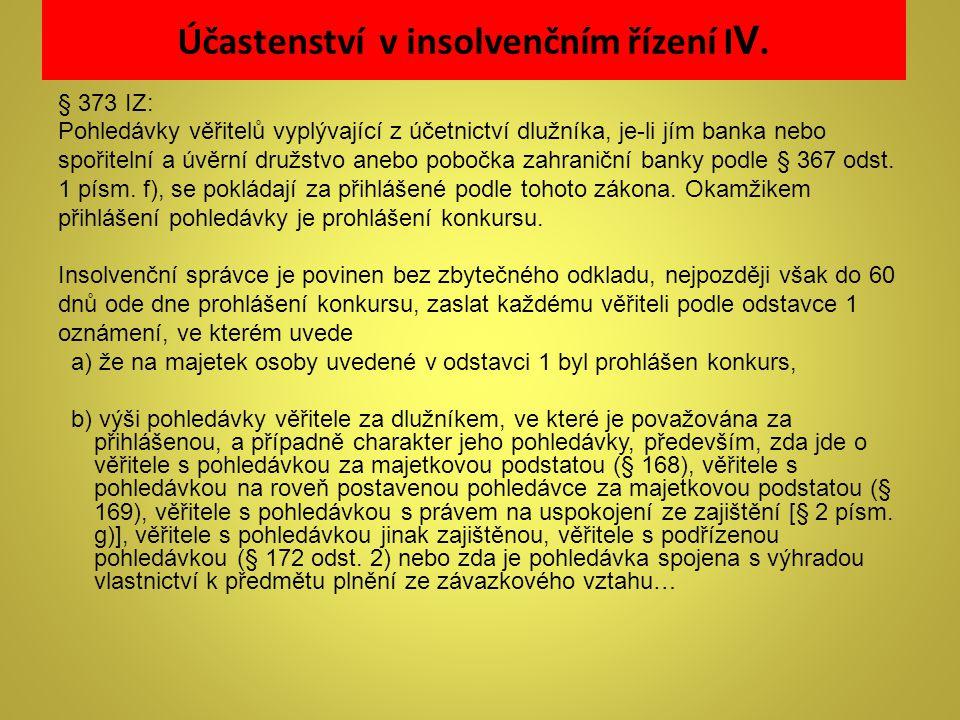 Účastenství v insolvenčním řízení I V. § 373 IZ: Pohledávky věřitelů vyplývající z účetnictví dlužníka, je-li jím banka nebo spořitelní a úvěrní družs