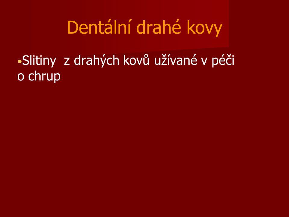Dentální drahé kovy Slitiny z drahých kovů užívané v péči o chrup