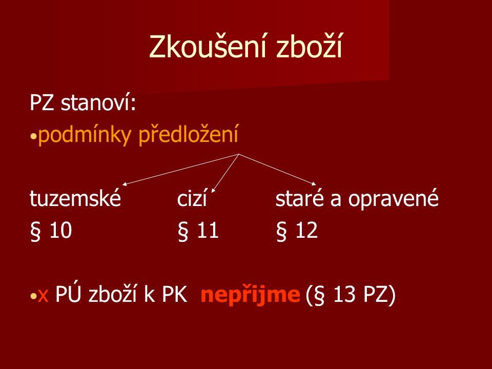 Zkoušení zboží PZ stanoví: podmínky předložení tuzemskécizístaré a opravené § 10§ 11§ 12 x PÚ zboží k PK nepřijme (§ 13 PZ)