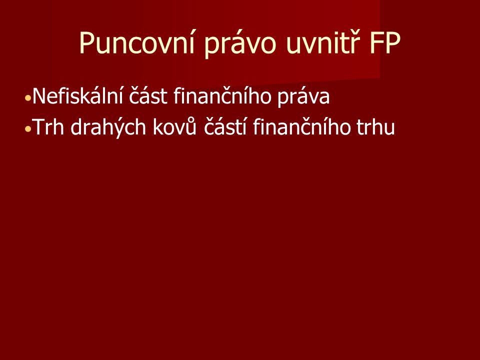Puncovní právo uvnitř FP Nefiskální část finančního práva Trh drahých kovů částí finančního trhu