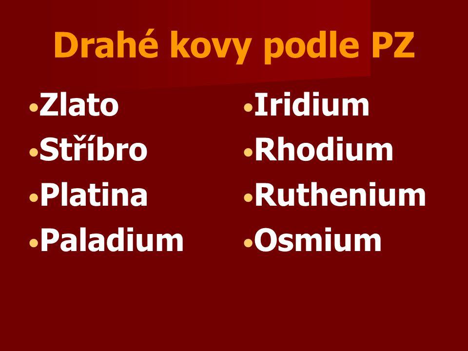 Drahé kovy podle PZ Zlato Stříbro Platina Paladium Iridium Rhodium Ruthenium Osmium