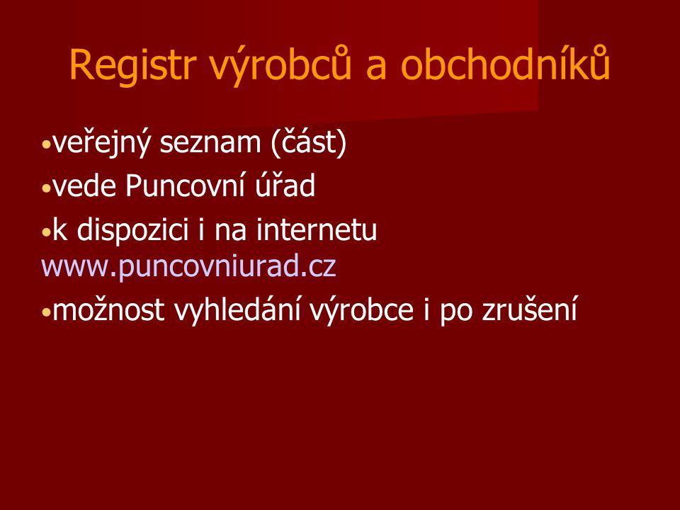 Registr výrobců a obchodníků veřejný seznam (část) vede Puncovní úřad k dispozici i na internetu www.puncovniurad.cz možnost vyhledání výrobce i po z