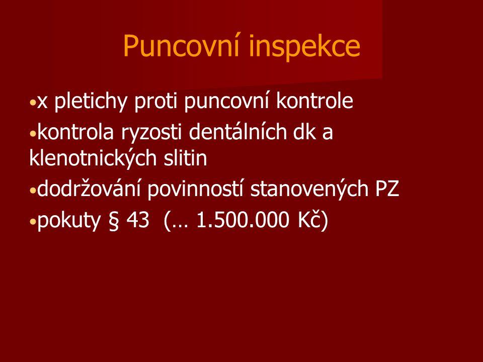 Puncovní inspekce x pletichy proti puncovní kontrole kontrola ryzosti dentálních dk a klenotnických slitin dodržování povinností stanovených PZ pokuty