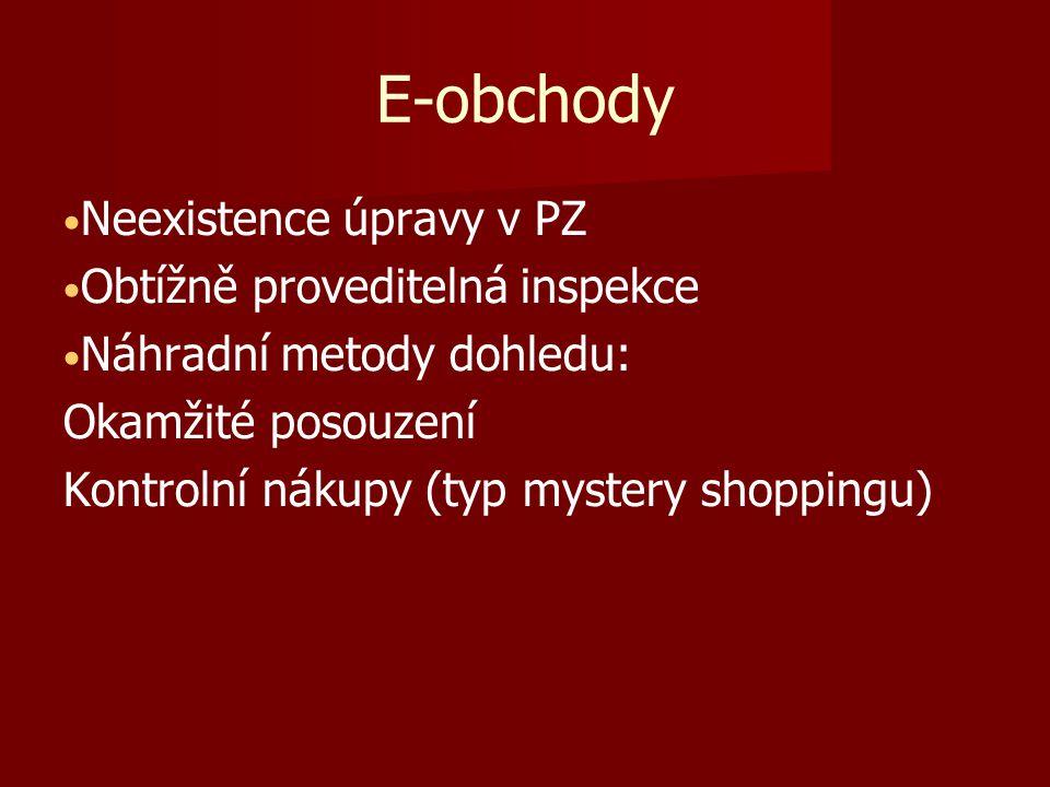 E-obchody Neexistence úpravy v PZ Obtížně proveditelná inspekce Náhradní metody dohledu: Okamžité posouzení Kontrolní nákupy (typ mystery shoppingu)