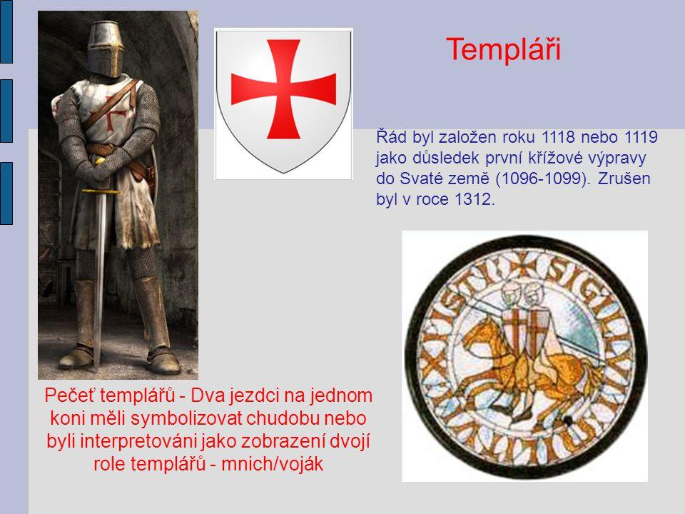 Pečeť templářů - Dva jezdci na jednom koni měli symbolizovat chudobu nebo byli interpretováni jako zobrazení dvojí role templářů - mnich/voják Templář