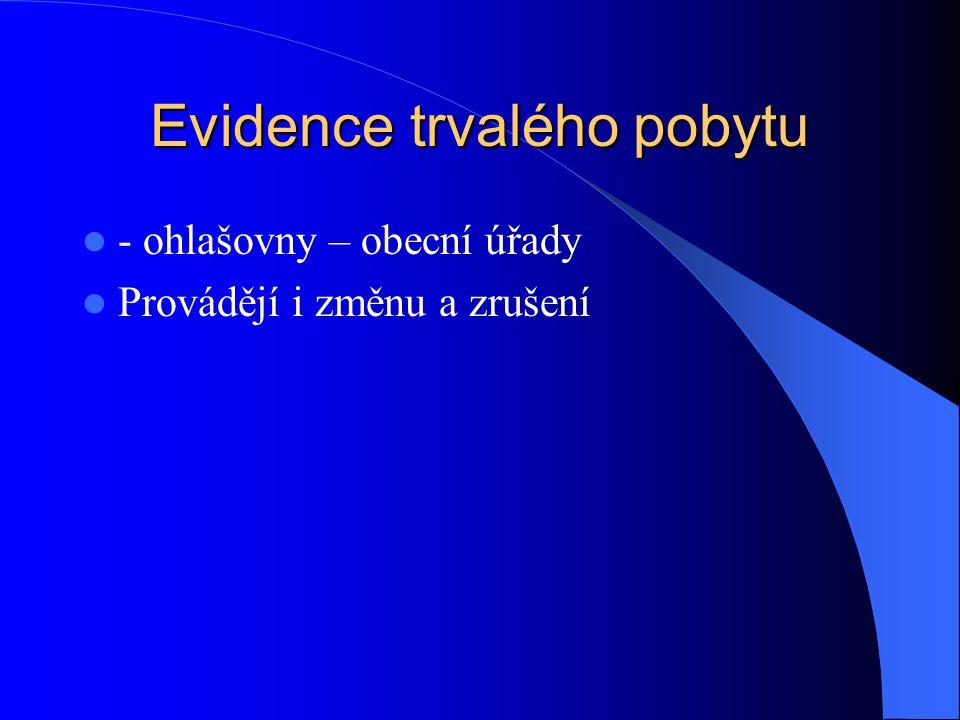 Evidence trvalého pobytu - ohlašovny – obecní úřady Provádějí i změnu a zrušení