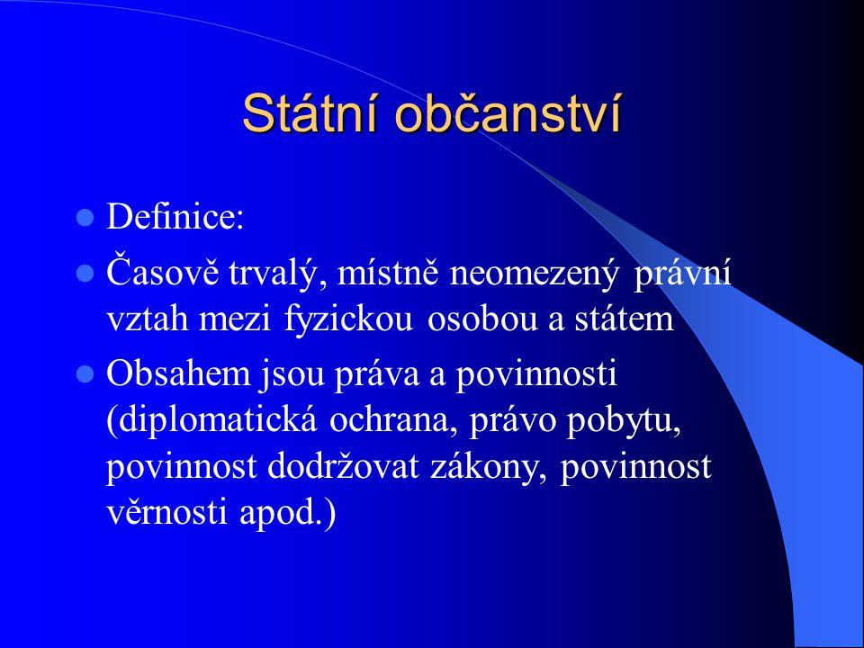 Státní občanství Definice: Časově trvalý, místně neomezený právní vztah mezi fyzickou osobou a státem Obsahem jsou práva a povinnosti (diplomatická oc