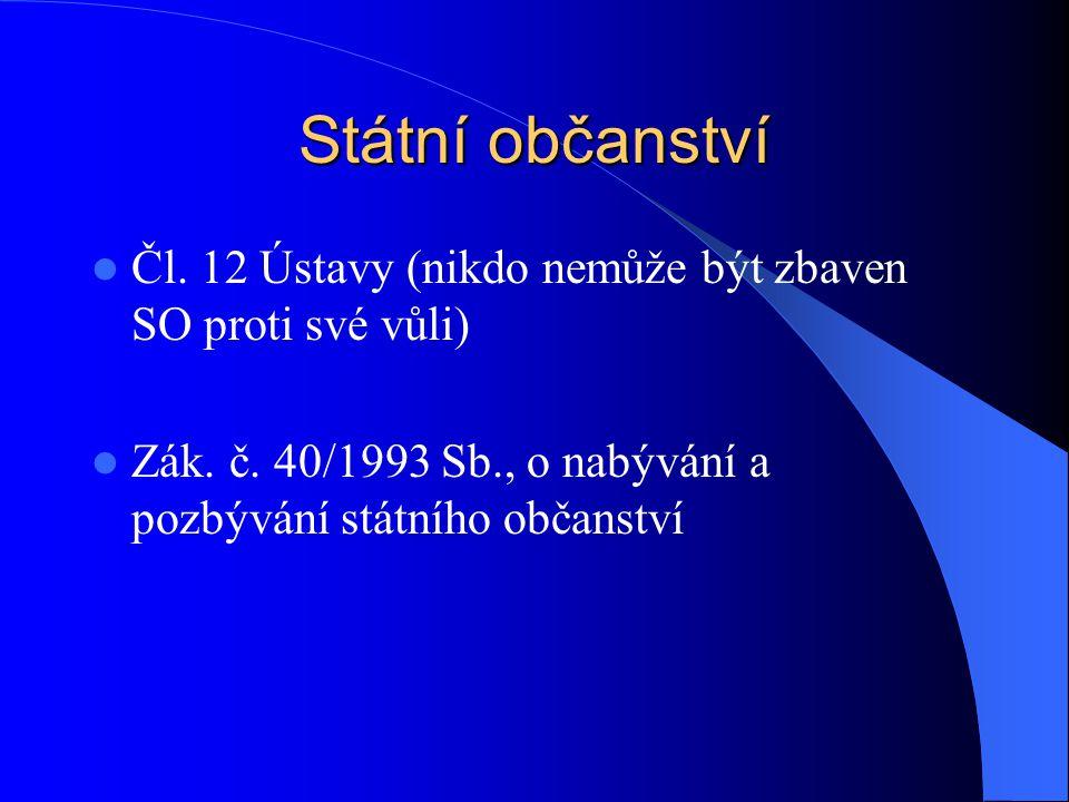 Státní občanství Čl. 12 Ústavy (nikdo nemůže být zbaven SO proti své vůli) Zák. č. 40/1993 Sb., o nabývání a pozbývání státního občanství