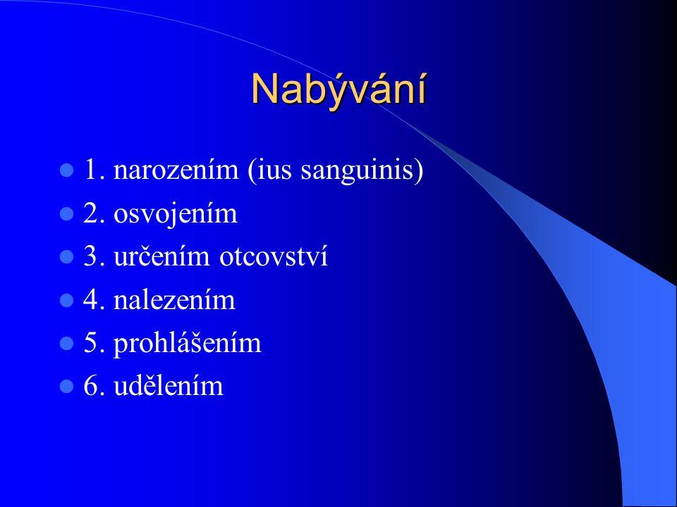 Nabývání 1. narozením (ius sanguinis) 2. osvojením 3. určením otcovství 4. nalezením 5. prohlášením 6. udělením