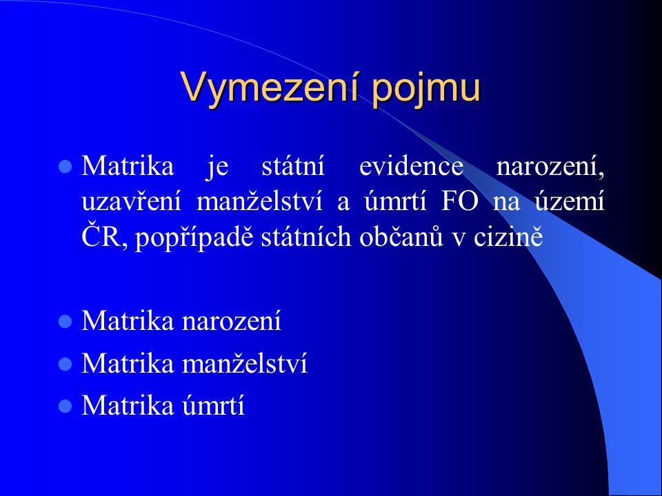 Vymezení pojmu Matrika je státní evidence narození, uzavření manželství a úmrtí FO na území ČR, popřípadě státních občanů v cizině Matrika narození Ma