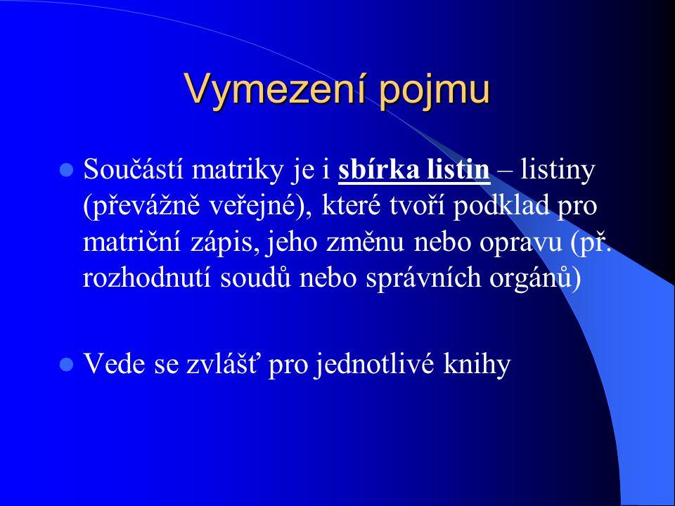 Vymezení pojmu Matriční doklad – výpis z matriční knihy, který obsahuje údaje nebo potvrzení o údajích zapsaných v matriční knize.