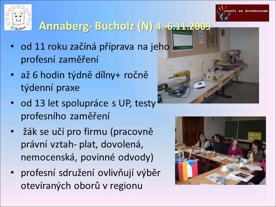 Annaberg- Bucholz (N) 4.-6.11.2009 od 11 roku začíná příprava na jeho profesní zaměření až 6 hodin týdně dílny+ ročně týdenní praxe od 13 let spolupráce s UP, testy profesního zaměření žák se učí pro firmu (pracovně právní vztah- plat, dovolená, nemocenská, povinné odvody) profesní sdružení ovlivňují výběr otevíraných oborů v regionu