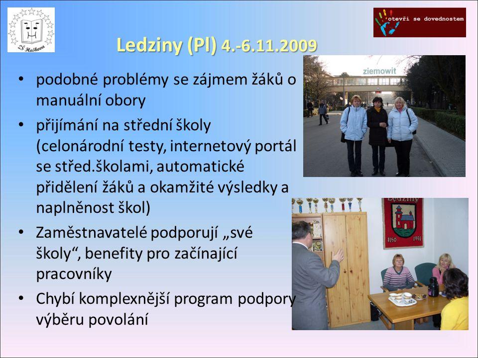 Ledziny (Pl) 4.-6.11.2009 podobné problémy se zájmem žáků o manuální obory přijímání na střední školy (celonárodní testy, internetový portál se střed.