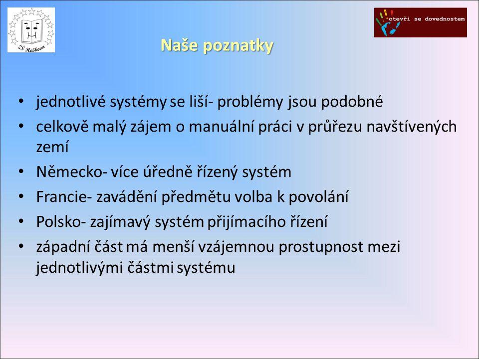 jednotlivé systémy se liší- problémy jsou podobné celkově malý zájem o manuální práci v průřezu navštívených zemí Německo- více úředně řízený systém Francie- zavádění předmětu volba k povolání Polsko- zajímavý systém přijímacího řízení západní část má menší vzájemnou prostupnost mezi jednotlivými částmi systému Naše poznatky