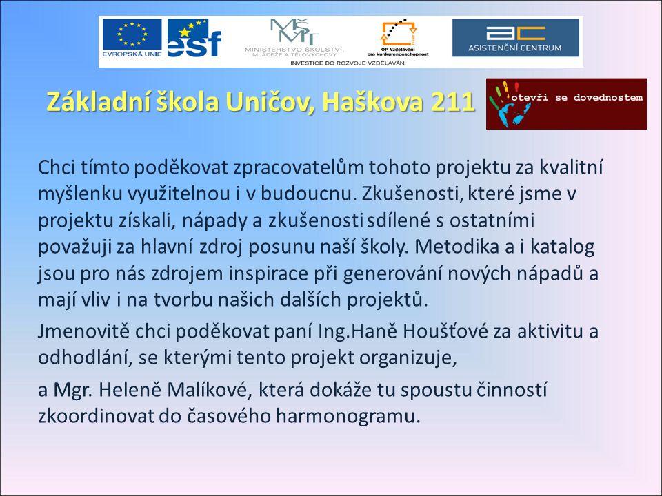 Základní škola Uničov, Haškova 211 Chci tímto poděkovat zpracovatelům tohoto projektu za kvalitní myšlenku využitelnou i v budoucnu. Zkušenosti, které